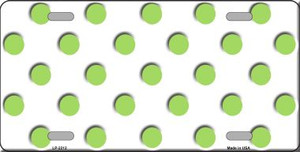 Lime Green Polka Dots White Wholesale Metal Novelty License Plate