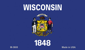 Wisconsin State Flag Wholesale Novelty Metal Magnet M-3608