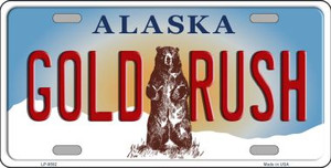 Gold Rush Alaska State Background Novelty Wholesale Metal License Plate