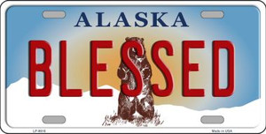 Blessed Alaska State Background Novelty Wholesale Metal License Plate