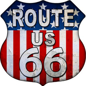 Route 66 Vertical American Flag Wholesale Metal Novelty Highway Shield