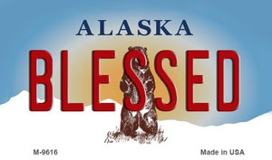 Blessed Alaska State Background Wholesale Novelty Metal Magnet