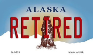 Retired Alaska State Background Wholesale Novelty Metal Magnet