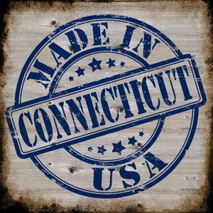Connecticut Stamp On Wood Wholesale Novelty Metal Square Sign