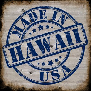 Hawaii Stamp On Wood Wholesale Novelty Metal Square Sign