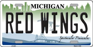 Redwings Michigan Novelty State Background Wholesale Metal License Plate LP-2291