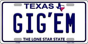 Gig'em Texas Background Novelty Wholesale Metal License Plate