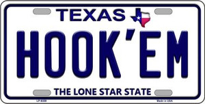 Hook'em Texas Background Novelty Wholesale Metal License Plate LP-9359