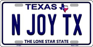 N Joy TX Texas Background Novelty Wholesale Metal License Plate