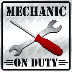 Mechanic On Duty Wholesale Novelty Metal Square Sign