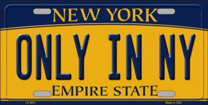 Only in NY New York Background Wholesale Metal Novelty License Plate