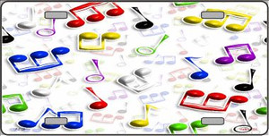 Musical Notes Multi-Color Wholesale Metal Novelty License Plate LP-2328
