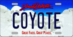 Coyote South Dakota Background Wholesale Metal Novelty License Plate