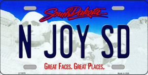N Joy SD South Dakota Background Wholesale Metal Novelty License Plate