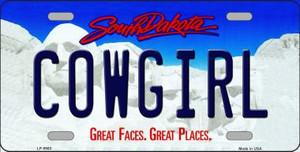 Cowgirl South Dakota Background Wholesale Metal Novelty License Plate