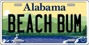 Beach Bum Alabama Background Wholesale Metal Novelty License Plate