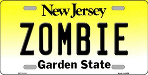 Zombie New Jersey Background Wholesale Metal Novelty License Plate