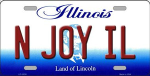 N Joy IL Illinois Background Wholesale Metal Novelty License Plate