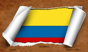 Colombia Flag Scroll Wholesale Novelty Metal Magnet