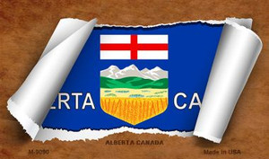 Alberta Canada Flag Scroll Wholesale Novelty Metal Magnet