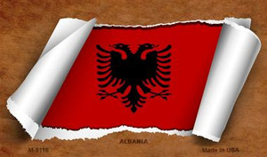 Albania Flag Scroll Wholesale Novelty Metal Magnet