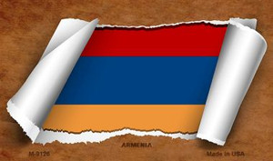 Armenia Flag Scroll Wholesale Novelty Metal Magnet