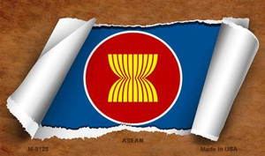 Asean Flag Scroll Wholesale Novelty Metal Magnet