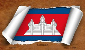 Cambodia Flag Scroll Wholesale Novelty Metal Magnet