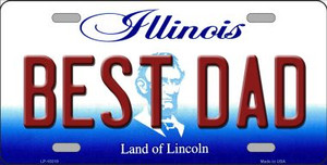 Best Dad Illinois Background Wholesale Metal Novelty License Plate
