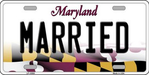 Married Maryland Background Wholesale Metal Novelty License Plate