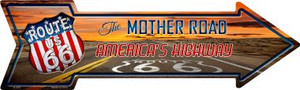 Route 66 With Sunset Wholesale Novelty Metal Arrow Sign