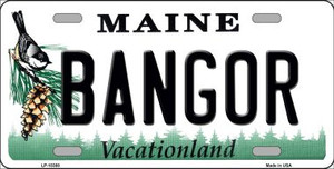 Bangor Maine Background Wholesale Metal Novelty License Plate
