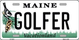 Golfer Maine Background Wholesale Metal Novelty License Plate