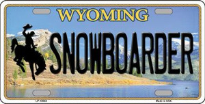 Snowboarder Wyoming Background Wholesale Metal Novelty License Plate