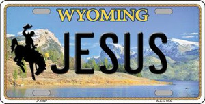 Jesus Wyoming Background Wholesale Metal Novelty License Plate