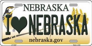 I Love Nebraska Background Wholesale Metal Novelty License Plate