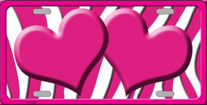 Hot Pink White Zebra Hot Pink Centered Hearts Wholesale Novelty License Plate