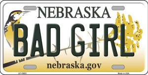 Bad Girl Nebraska Background Wholesale Metal Novelty License Plate