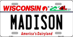 Madison Wisconsin Background Wholesale Metal Novelty License Plate