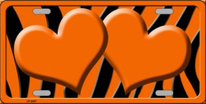 Orange Black Zebra Orange Centered Hearts Wholesale Novelty License Plate LP-2437