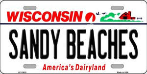 Sandy Beaches Wisconsin Background Wholesale Metal Novelty License Plate