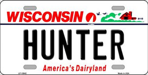 Hunter Wisconsin Background Wholesale Metal Novelty License Plate
