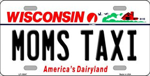 Moms Taxi Wisconsin Background Wholesale Metal Novelty License Plate