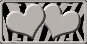 Grey Black Zebra Grey Centered Hearts Wholesale Novelty License Plate LP-2440