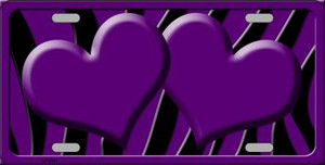 Purple Black Zebra Purple Centered Hearts Wholesale Novelty License Plate LP-2441