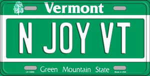 N Joy VT Vermont Background Wholesale Metal Novelty License Plate