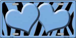 Light Blue Black Zebra Light Blue Centered Hearts Wholesale Novelty License Plate LP-2443