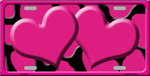 Pink Black Giraffe Print With Pink Centered Hearts Wholesale Novelty License Plate LP-2444