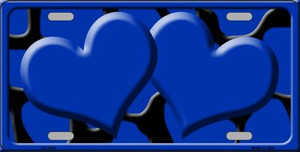 Blue Black Giraffe Print With Blue Centered Hearts Wholesale Novelty License Plate LP-2446