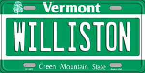 Williston Vermont Background Wholesale Metal Novelty License Plate